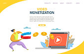 Video monetization vector website template, web page and landing page design for website and mobile site development. Monetize video, making money from videos concept.