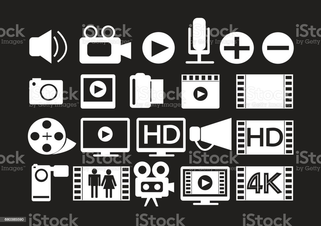 Video Movie Multimedia Icons royalty-free video movie multimedia icons stock vector art & more images of arts culture and entertainment