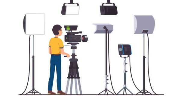 video & film produktion studio beleuchtungseinrichtungen, strahler & flutlicht, kamera von kameraleuten betrieben. flachen stil isoliert vektor - film oder fernsehvorführung stock-grafiken, -clipart, -cartoons und -symbole