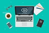 Video on laptop vector illustration, flat cartoon computer screen online webinar concept top view, idea of tutorial watching, e-learning,