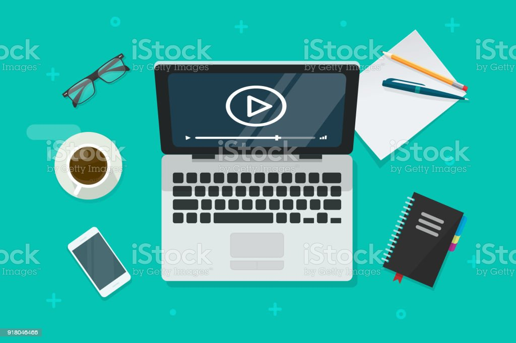 Video on laptop vector illustration, flat cartoon computer screen online webinar concept top view, idea of tutorial watching, e-learning, vector art illustration