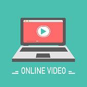 Video online illustration. Vector design in flat style. Vector illustration