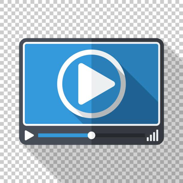 Video oder Media-Player im flachen Stil mit langen Schatten auf transparentem Hintergrund – Vektorgrafik