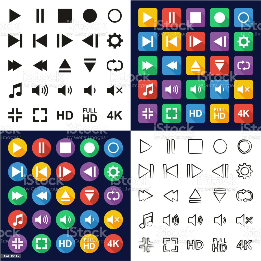 Video Or Music Or Camera Button All in One Icons Black & White Color Flat Design Freehand Set vector art illustration