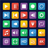 Video Or Music Or Camera Button Icons Flat Design
