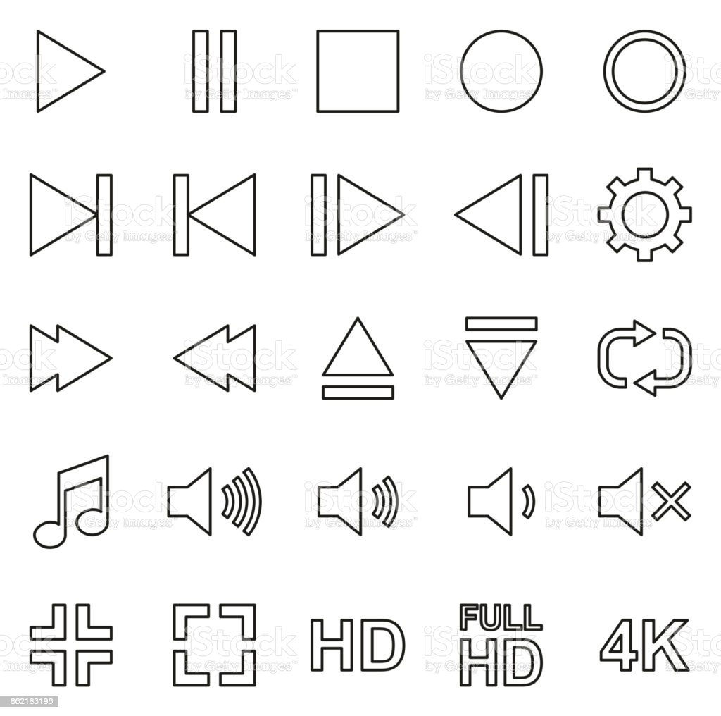 Video Or Music Or Camera Button Icons Thin Line Vector Illustration Set