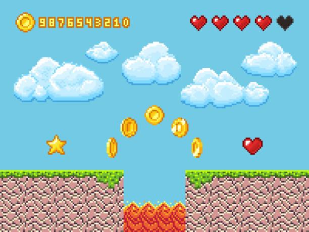stockillustraties, clipart, cartoons en iconen met video pixel spel landschap met gouden munten, witte wolken en rode harten vectorillustratie - vrijetijdsspel