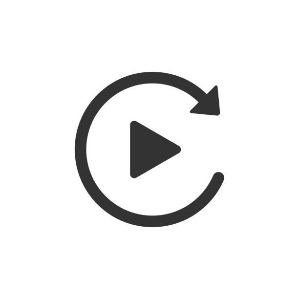 video-play-button wie einfaches wiedergabe-icon isoliert. flaches design. vektorabbildung - anfang stock-grafiken, -clipart, -cartoons und -symbole