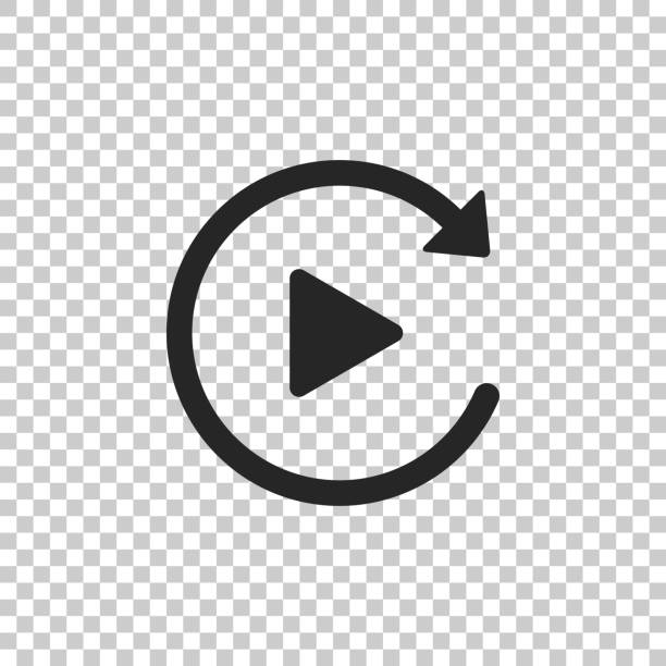 Video play button like simple replay icon isolated on transparent background. Flat design. Vector Illustration Video play button like simple replay icon isolated on transparent background. Flat design. Vector Illustration repetition stock illustrations
