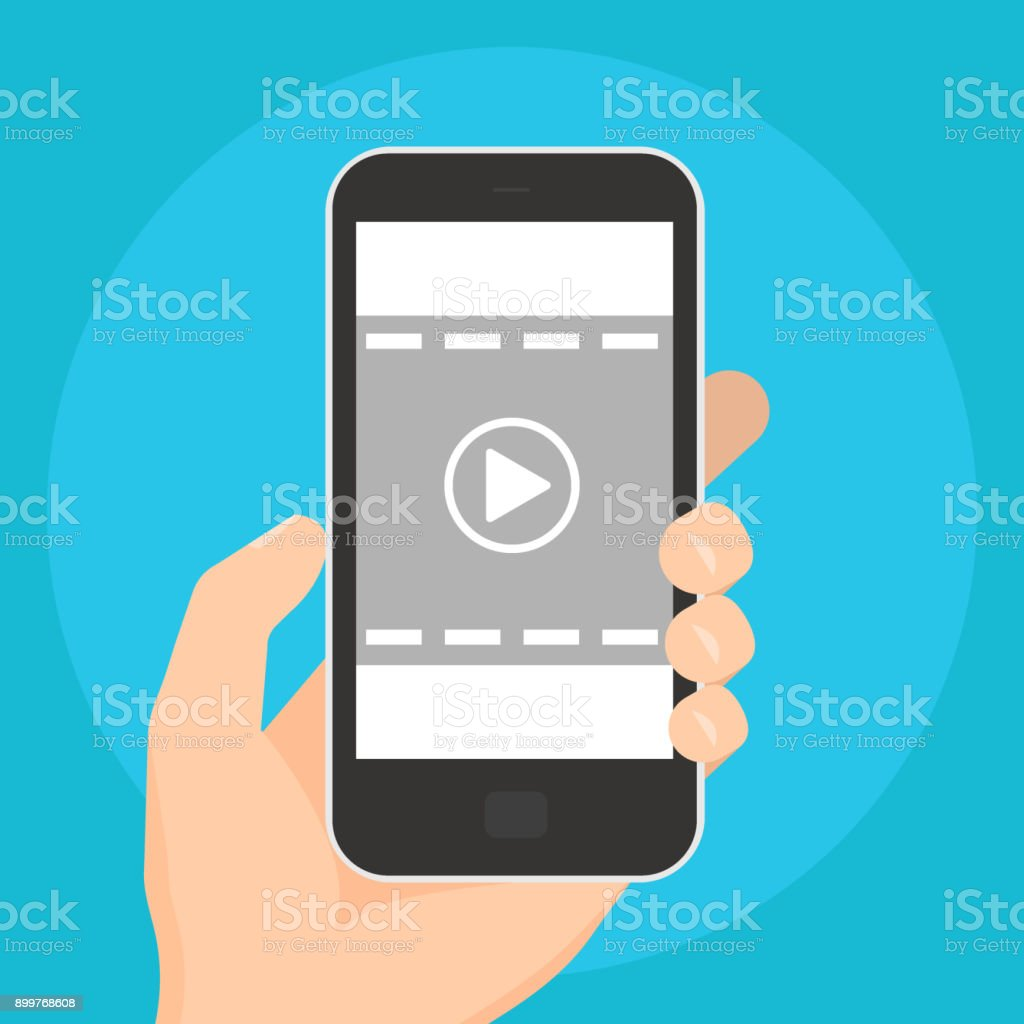 Video play icon. Playing video on the mobile devices isolated on the blue background. Illustration vector art illustration