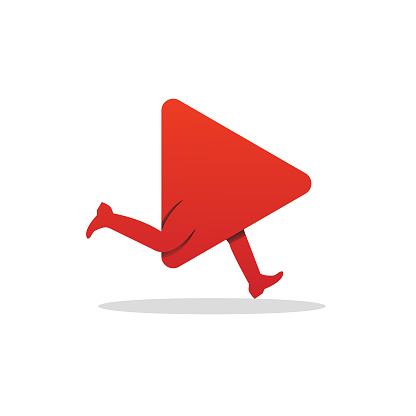 Video Play Running Logo Template Design Vector, Emblem, Design Concept, Creative Symbol, Icon