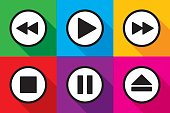 Vector illustration of video playback icons in flat style.