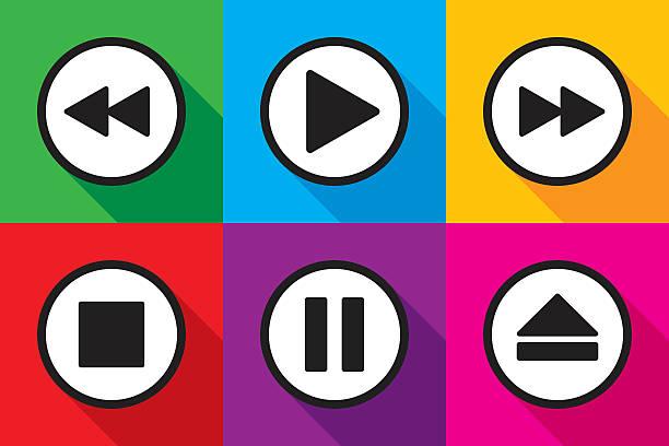 Video Playback Icons Set Vector illustration of video playback icons in flat style. resting stock illustrations