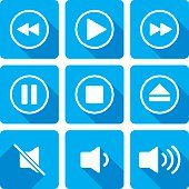Vector illustration of a video playback set of icons in flat style.