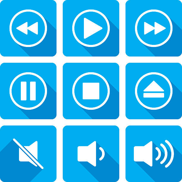 Video Playback Icons Silhouette Set Vector illustration of a video playback set of icons in flat style. resting stock illustrations
