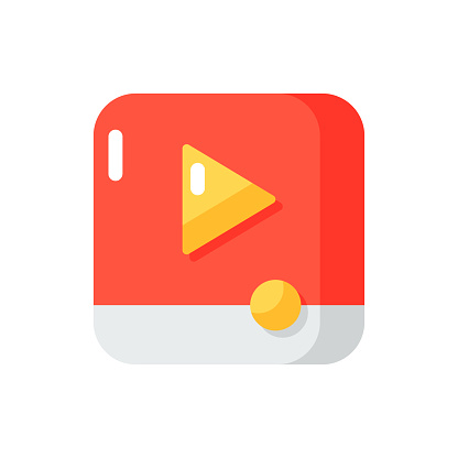 Video player app vector flat color icon