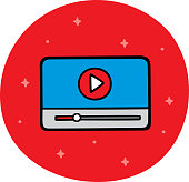 Vector illustration of a hand drawn video player against a red background.