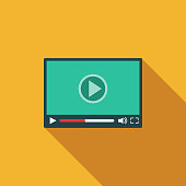 Video Player Flat Design Communications Icon with Side Shadow