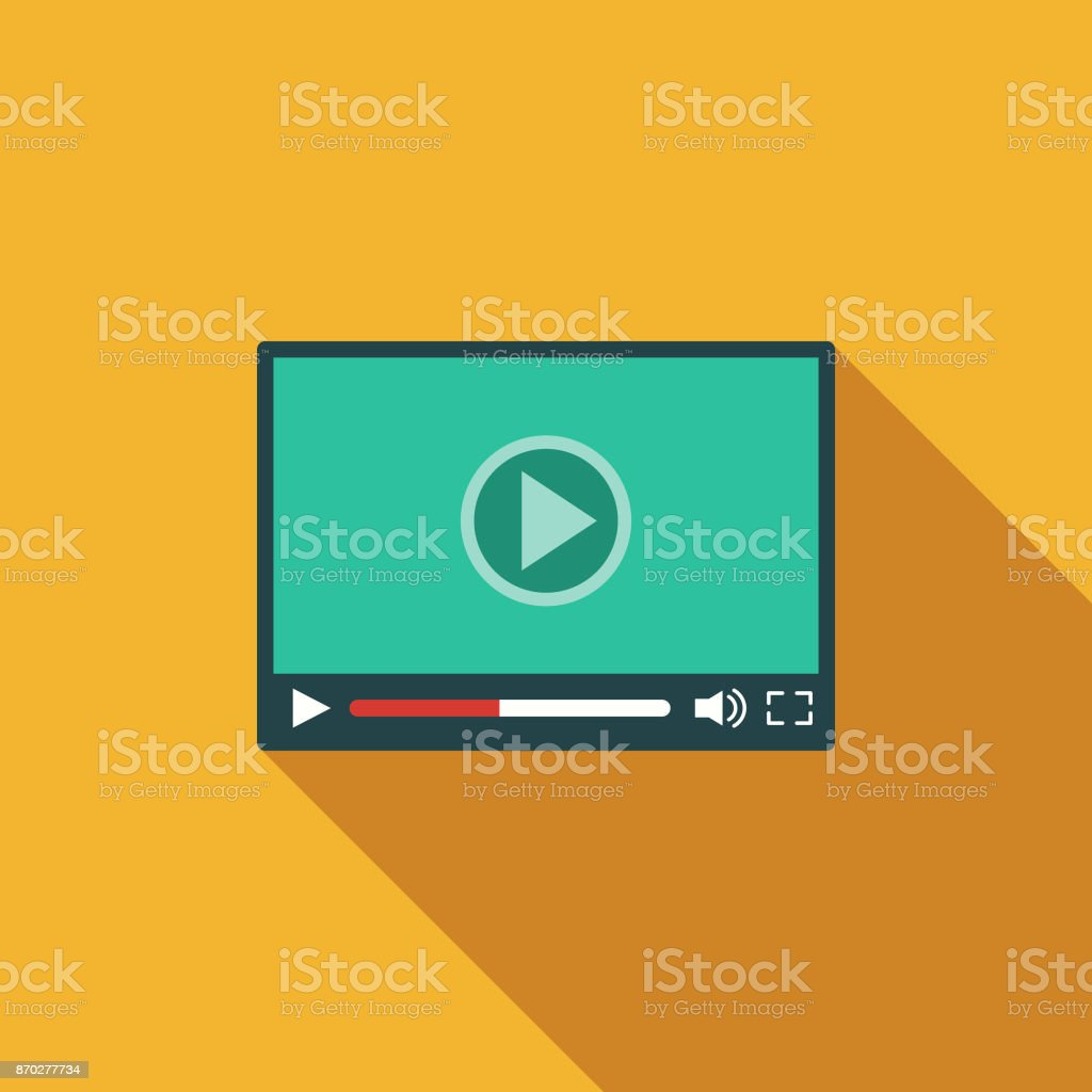Video Player Flat Design Communications Icon with Side Shadow vector art illustration