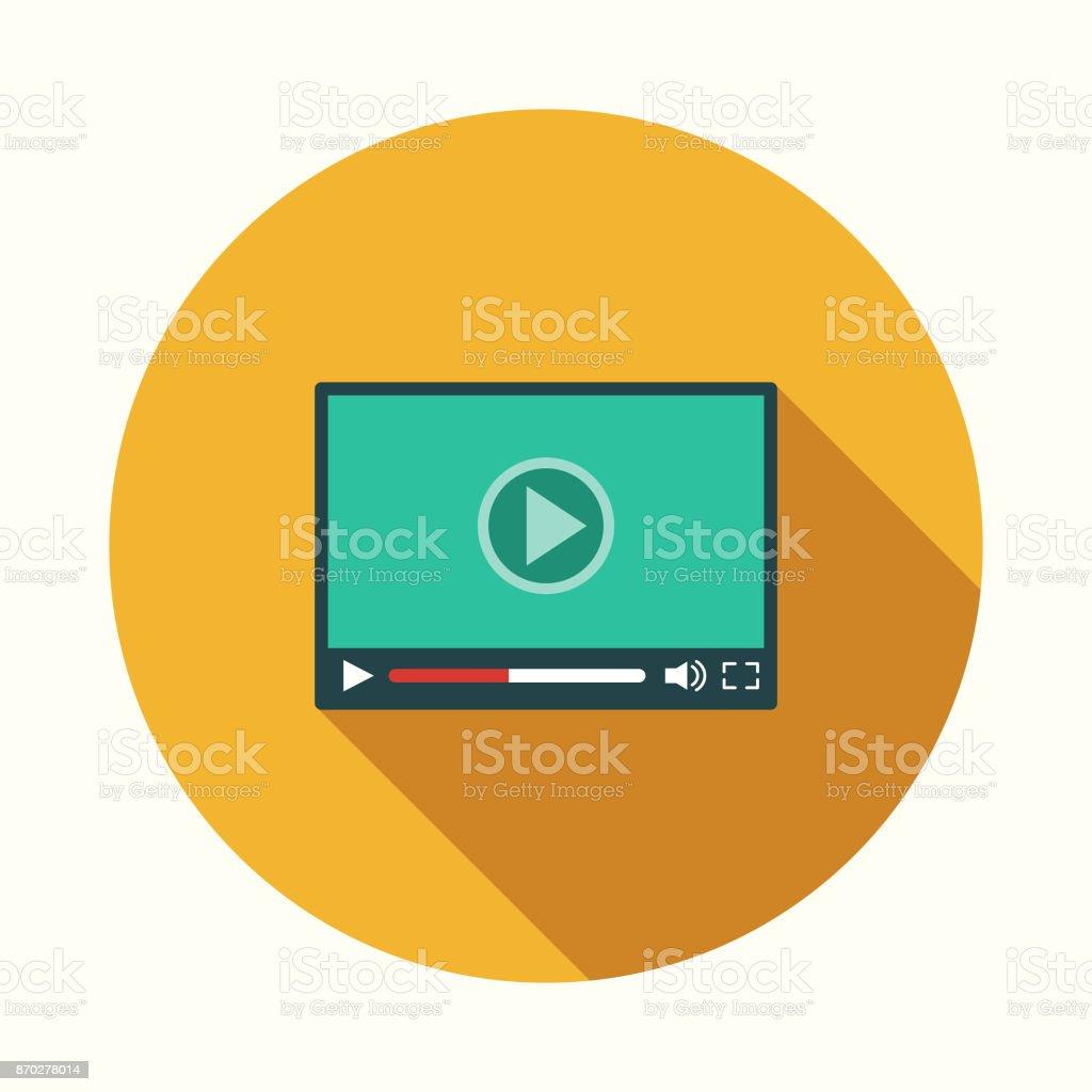 Video Icon With Long Shadow Stock Vektor Art und mehr Bilder von  Audiocassette - iStock