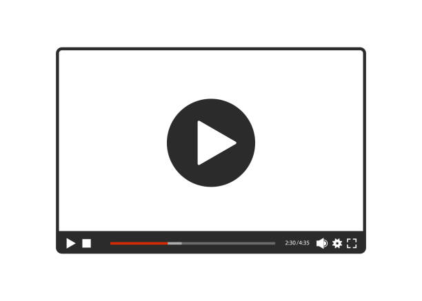 Video player for web in black and white, vector Video player for web in black and white, vector publicity event stock illustrations