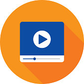 Vector illustration of a blue video player against an orange background in flat style.