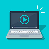 Video Player Icon on laptop screen. Flat cartoon media player symbol isolated image. Vector illustration