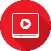 Vector illustration of a red video player icon in flat style.