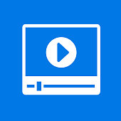 Video Player Interface Icon. This 100% royalty free vector illustration is featuring the main icon on a flat blue background. The image is square.