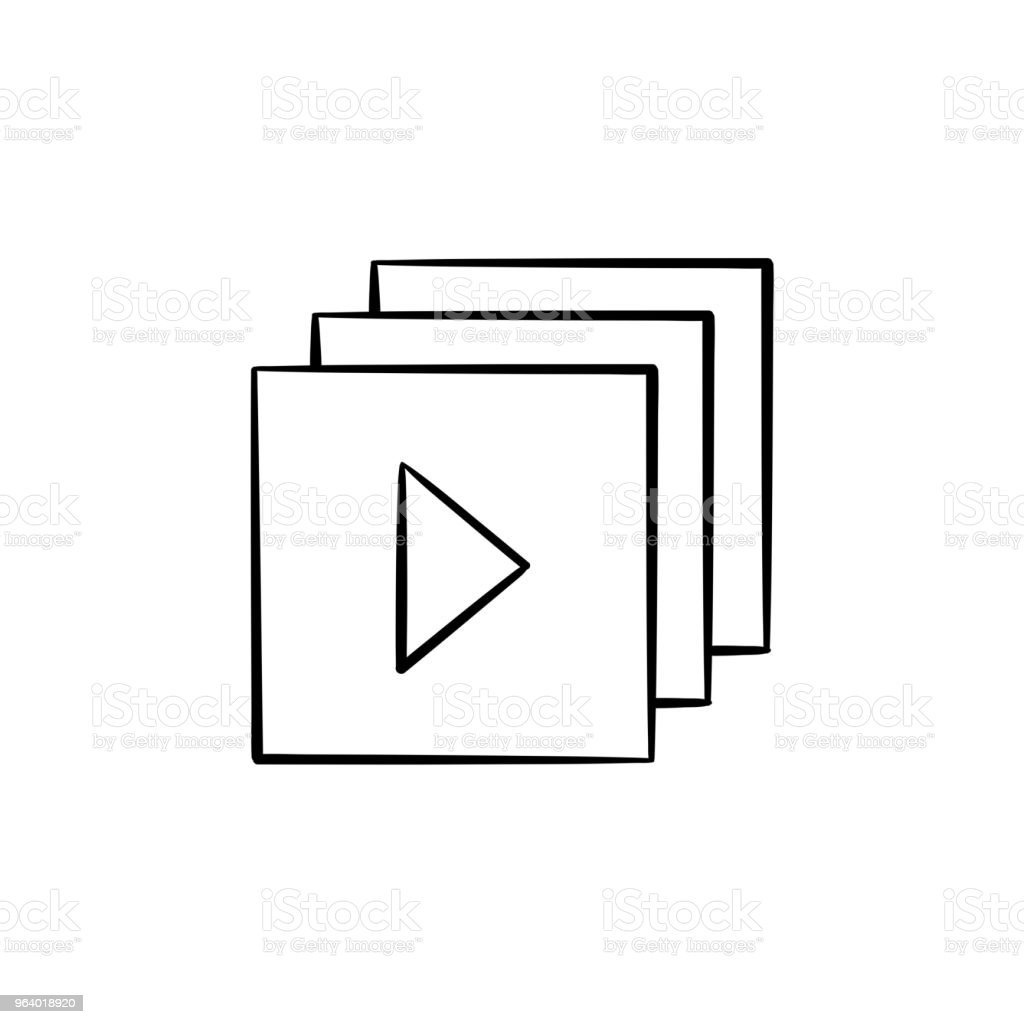 Video player interface with play button hand drawn outline doodl - Royalty-free Audio Equipment stock vector