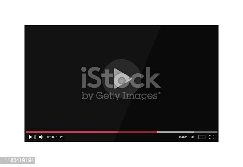 istock Video player screen with bar in mockup style. Multimedia interface with player bar for web. Flat player video frame with media screen on isolated background.vector illustration 1183419194