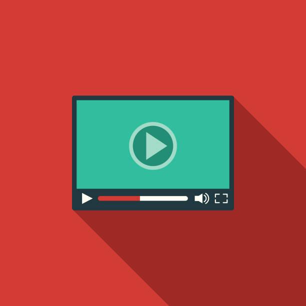social-media-video-player flache design-ikone mit seite schatten - flat design symbole stock-grafiken, -clipart, -cartoons und -symbole