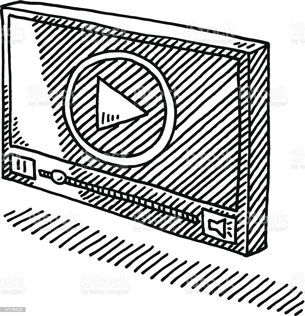 Video Player Symbol Drawing Hand-drawn vector drawing of a Video Player Symbol. Black-and-White sketch on a transparent background (.eps-file). Included files are EPS (v10) and Hi-Res JPG. Arrow Symbol stock vector