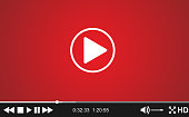 Video player template for web, movie screen  vector illustration. Modern flat video player interface.