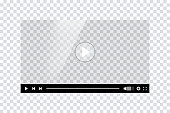 istock Video player template interface. Blank mockup video player web UI design. Stock vector. 1303557068