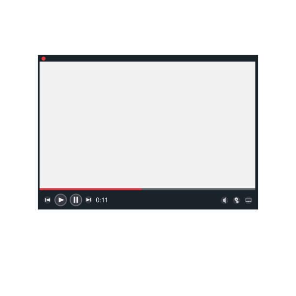 video-player. die schnittstelle des programms - tablet mit displayinhalt stock-grafiken, -clipart, -cartoons und -symbole