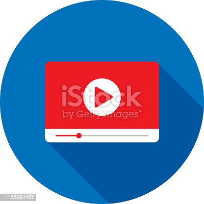 Vector illustration of a red video player against a blue background in flat style.