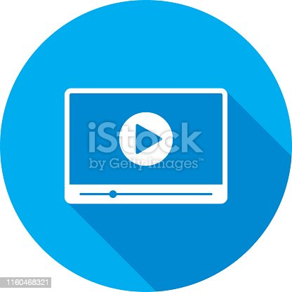 Vector illustration of a blue video player icon in flat style.