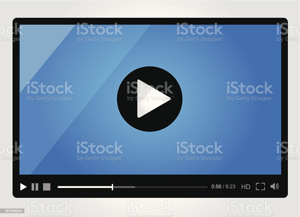 Video player with play button in center royalty-free stock vector art