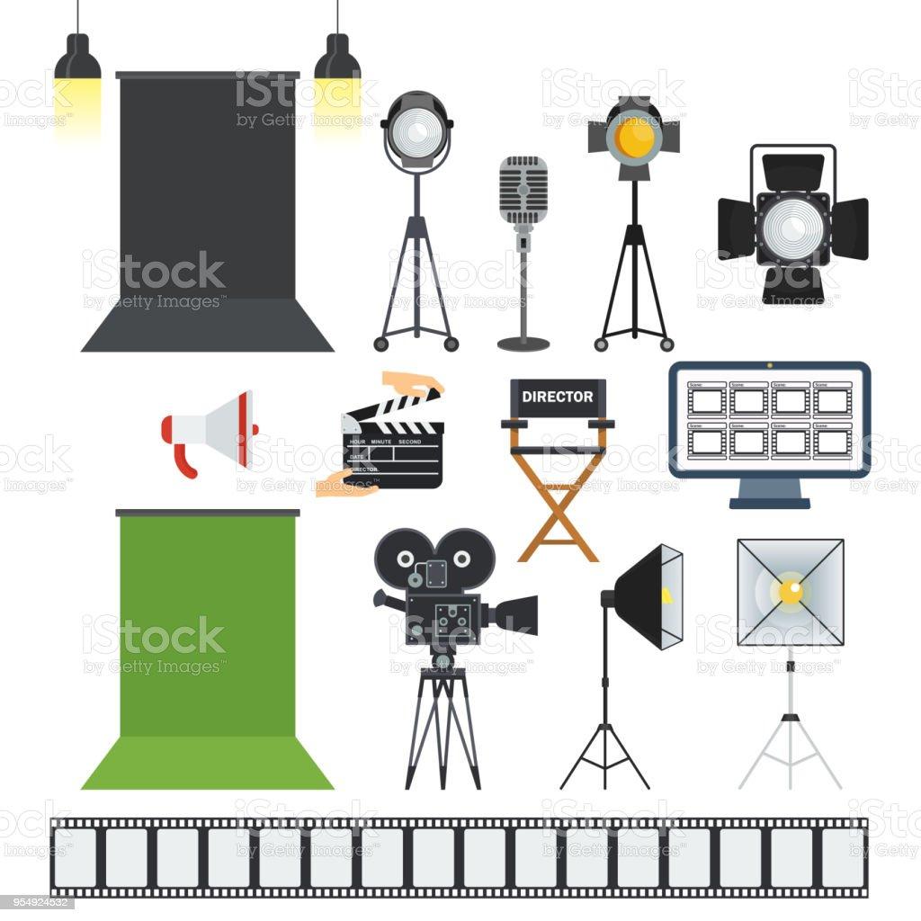 iconos de objetos de estudio de porodaction video - ilustración de arte vectorial