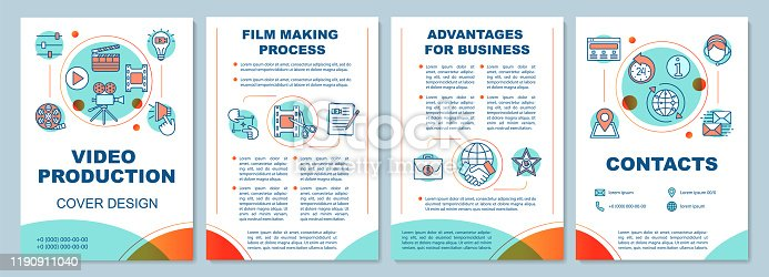 Video production agency brochure template layout. Film making. Flyer, booklet, leaflet print design with linear illustrations. Vector page layouts for magazines, annual reports, advertising posters