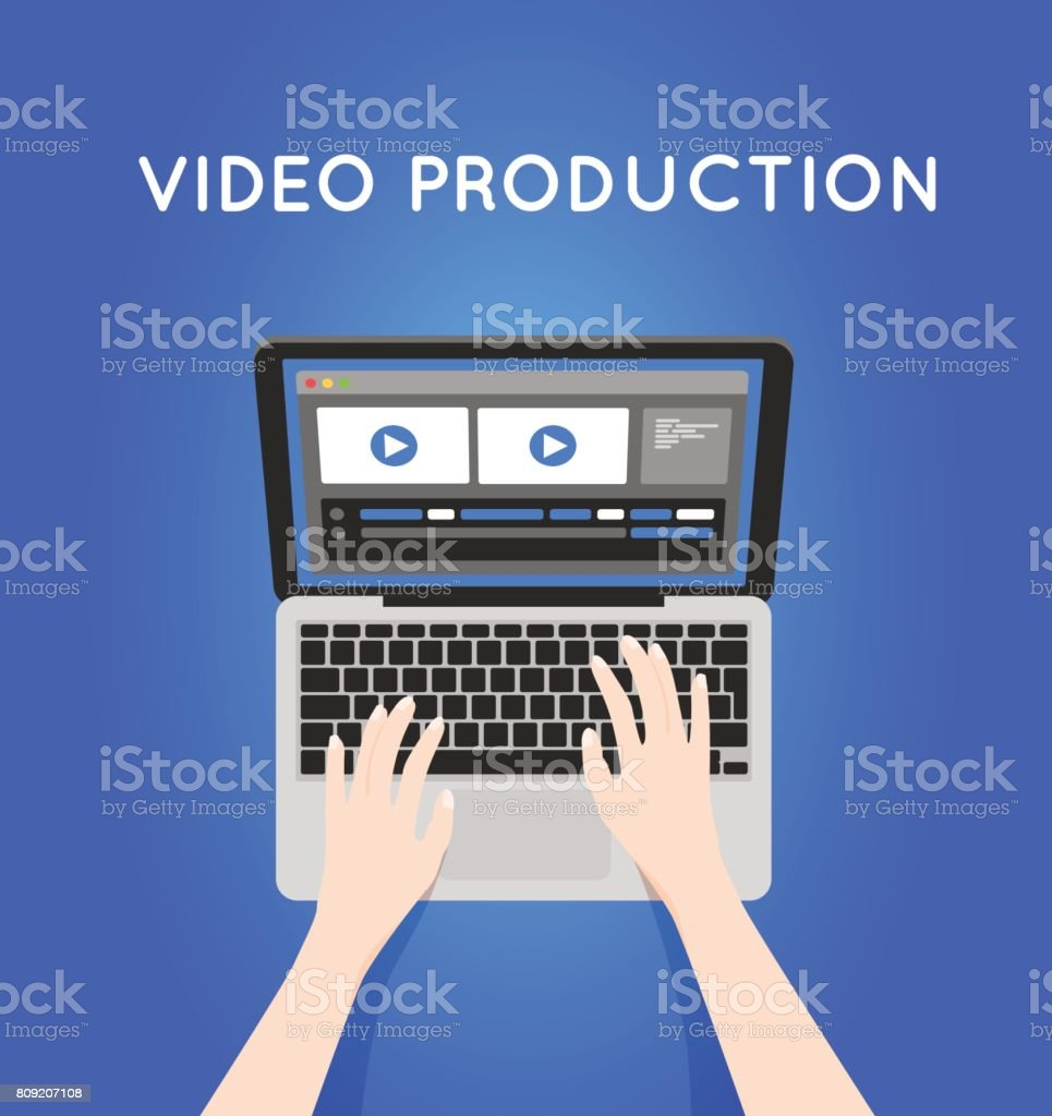 Beautiful Video Production Computer Software On Laptop. Videographer Icon  Royalty Free Video Production Computer Software