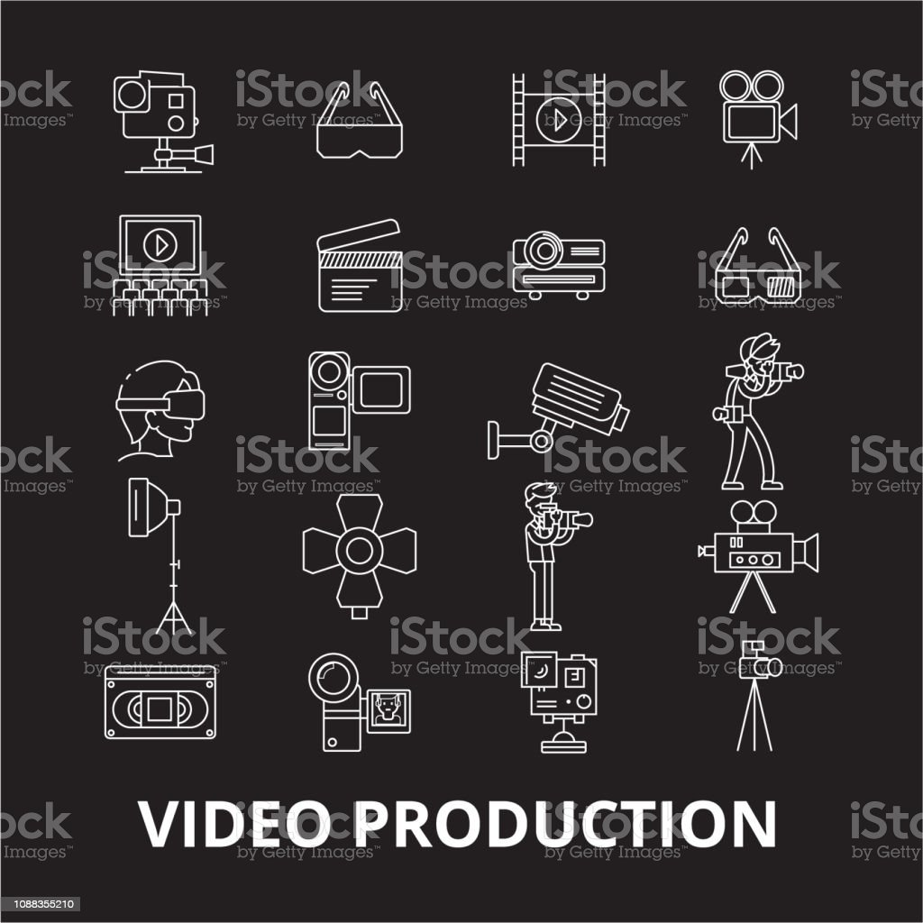 Video production editable line icons vector set on black background....