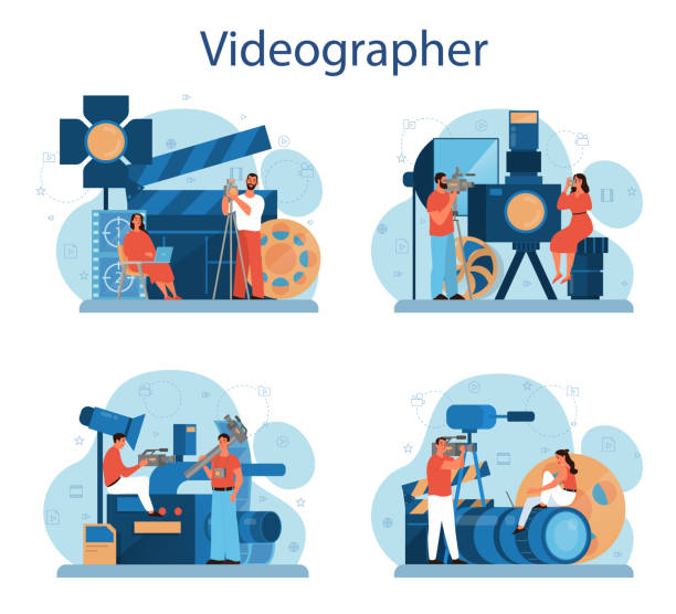 Video production or videographer concept set. Movie and cinema vector art illustration