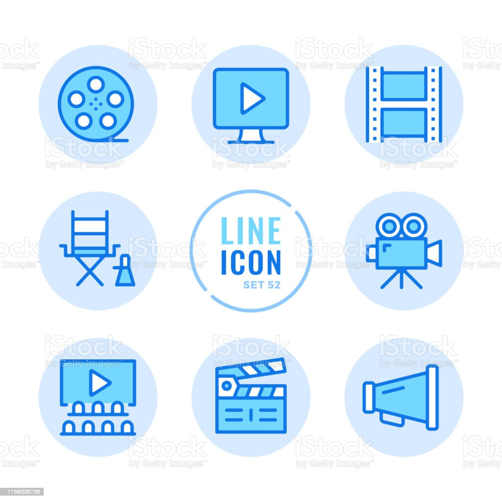 Video production vector line icons set. Filmmaking, movie industry,...