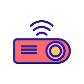 video projector icon vector. Thin line sign. Isolated contour symbol illustration