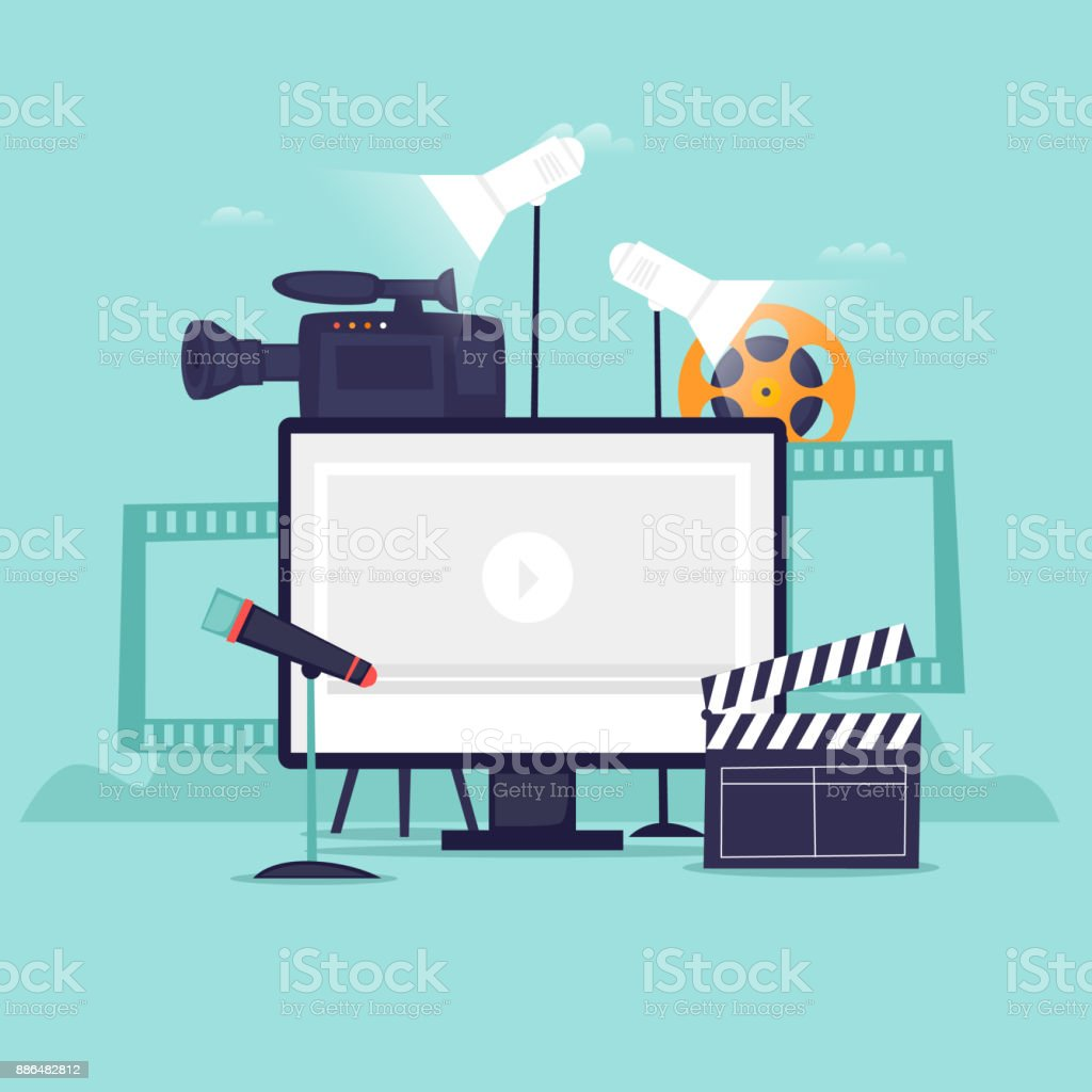 Video-Aufzeichnung. Flaches Design-Vektor-illustration – Vektorgrafik