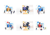Video seminar set. Professionals listening to speaker appearing on computer monitor. Flat vector illustrations. Online education, training concept for banner, website design or landing web page