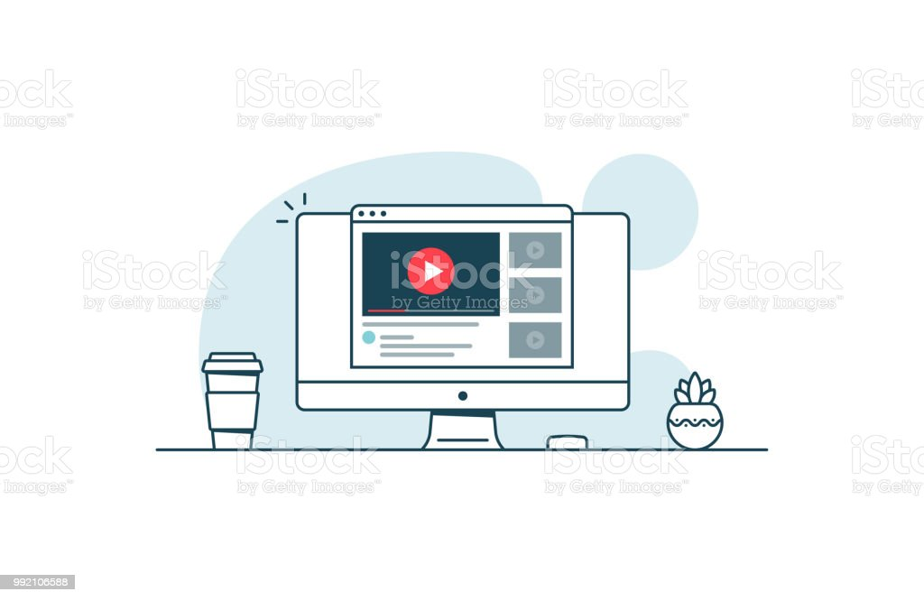 Video service concept. Computer with open browser and video player. Vector illustration in line art style - Royalty-free Advertisement stock vector