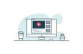 istock Video service concept. Computer with open browser and video player. Vector illustration in line art style 992106588